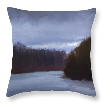 River Bend In Winter Throw Pillow