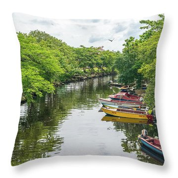 River Boat Dock Throw Pillow