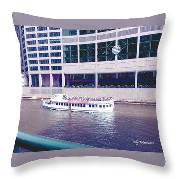 River Boat Tour Throw Pillow