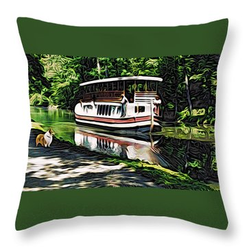Throw Pillow featuring the digital art River Boat With Welsh Corgi by Kathy Kelly