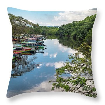 River Boats Docked In Negril, Jamaica Throw Pillow