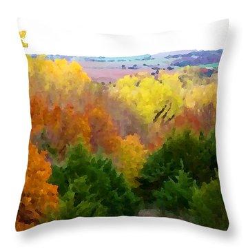 River Bottom In Autumn Throw Pillow