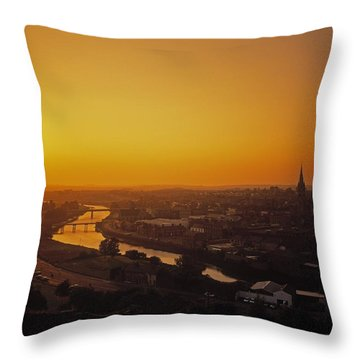 River Boyne, Drogheda, Co Louth, Ireland Throw Pillow by The Irish Image Collection