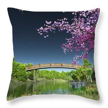 River Bridge Cherry Tree Blosson Throw Pillow by Walter Colvin