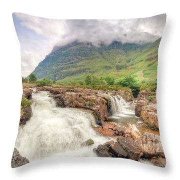River Coe And Bidean Nam Bian Throw Pillow
