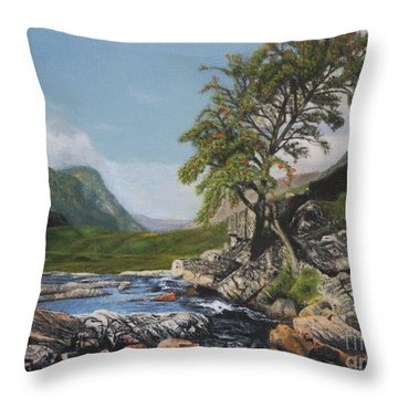 River Coe Scotland Oil On Canvas Throw Pillow