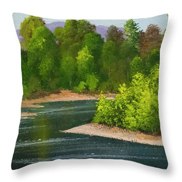 Throw Pillow featuring the painting River Confluence by Frank Wilson