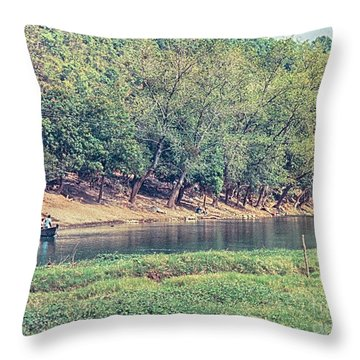 Throw Pillow featuring the photograph River Crossing by Charles McKelroy