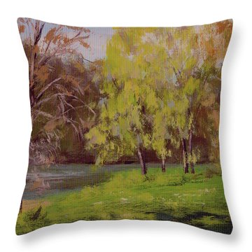 River Forks Spring 2 Throw Pillow by Karen Ilari
