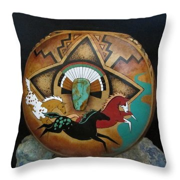 River Horses Gn39 Throw Pillow