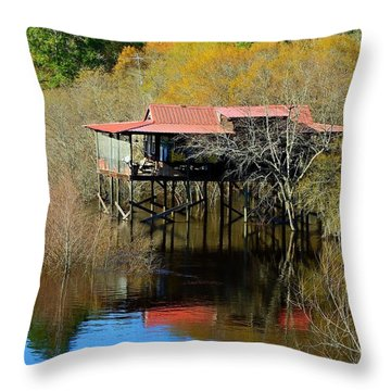 Throw Pillow featuring the photograph River House by Laura Ragland