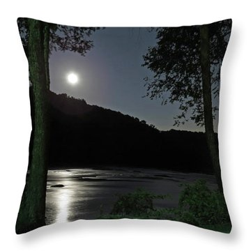 River In Moonlight Throw Pillow