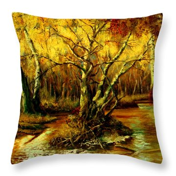 River In The Forest Throw Pillow