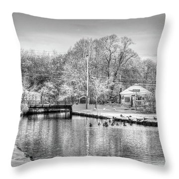 River In The Snow Throw Pillow