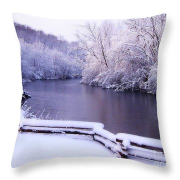 River In Winter Throw Pillow