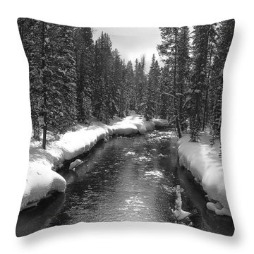River In Yellowstone Throw Pillow