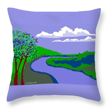 River Landscape Throw Pillow by Fred Jinkins