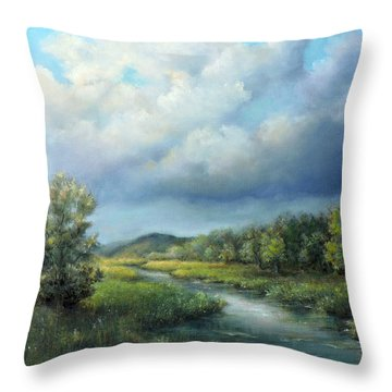 Throw Pillow featuring the painting River Landscape Spring After The Rain by Katalin Luczay