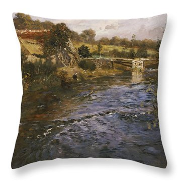 River Landscape With A Washerwoman  Throw Pillow by Fritz Thaulow