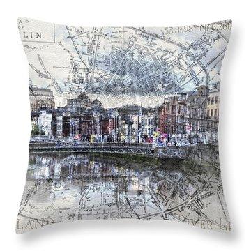 River Liffey Dublin Throw Pillow