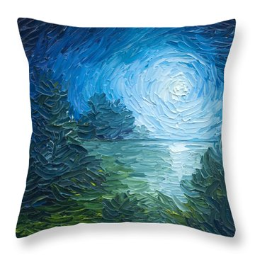 River Moon Throw Pillow