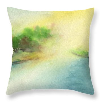 River Morning Throw Pillow by Frank Bright