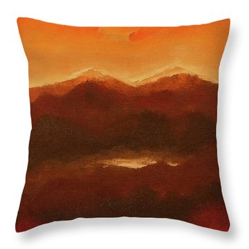 River Mountain View Throw Pillow