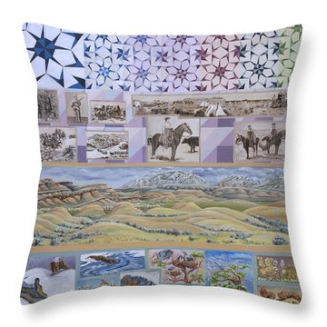 River Mural Spring Panel Top Half Throw Pillow