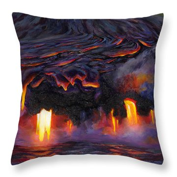 River Of Fire - Kilauea Volcano Eruption Lava Flow Hawaii Contemporary Landscape Decor Throw Pillow