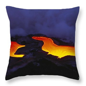 River Of Lava Throw Pillow by Peter French - Printscapes
