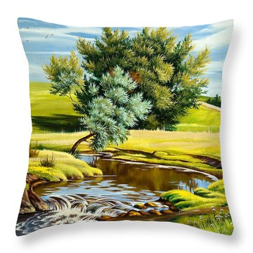 River Of Life Throw Pillow by Karen Showell