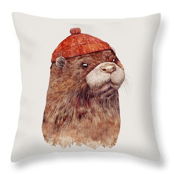 River Otter Throw Pillow by Animal Crew