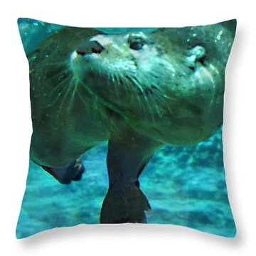 River Otter Throw Pillow by Steve Karol
