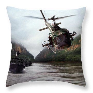 River Patrol Throw Pillow by Peter Chilelli