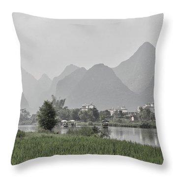 River Rafting Throw Pillow