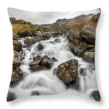 River Rapids Snowdonia Throw Pillow by Adrian Evans