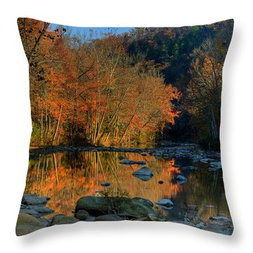 River Reflection Buffalo National River At Ponca Throw Pillow