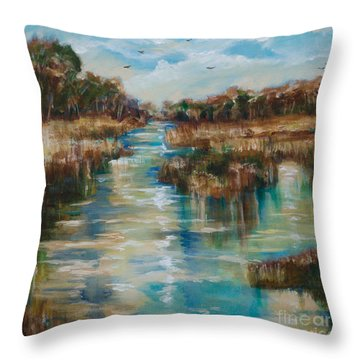 River Reflection Throw Pillow by Linda Olsen