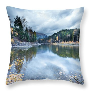 Throw Pillow featuring the photograph River Reflections by Fran Riley