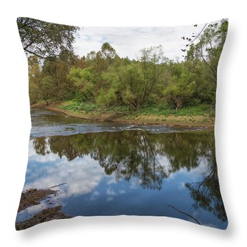 Throw Pillow featuring the photograph River Reflections by John M Bailey