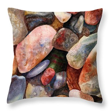 River Rocks Throw Pillow by Anne Gifford