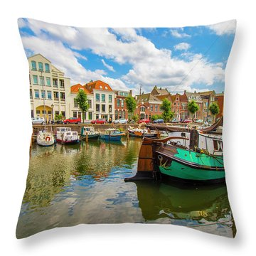 River Scene In Rotterdam Throw Pillow