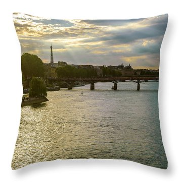 River Seine At Dusk Throw Pillow