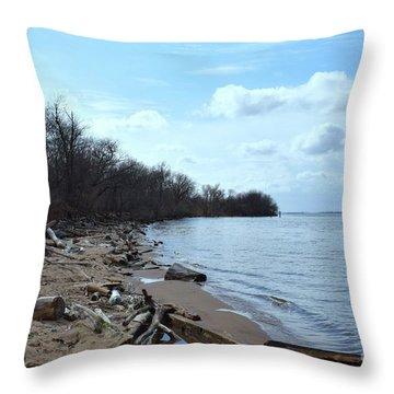 Delaware River Shoreline Throw Pillow