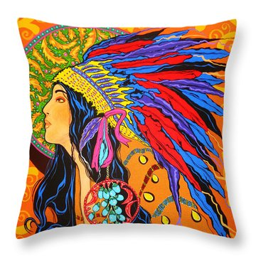 Throw Pillow featuring the painting River Song  by Debbie Chamberlin