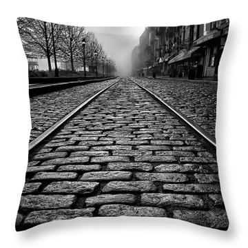 River Street Railway - Black And White Throw Pillow by Renee Sullivan