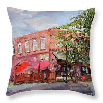 Throw Pillow featuring the painting River Street Tavern-ellijay, Ga - Cheers by Jan Dappen
