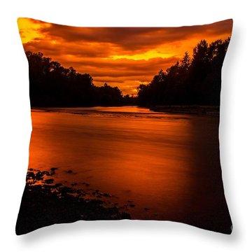 River Sunset 2 Throw Pillow