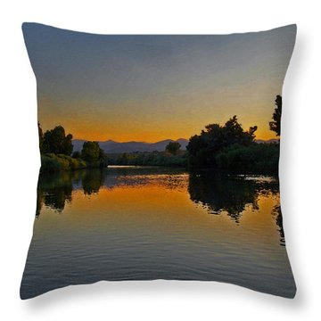 River Sunset Throw Pillow by Ernie Echols