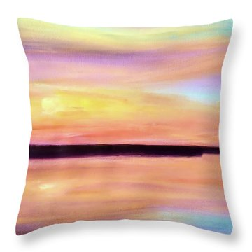 Throw Pillow featuring the painting River Sunset by Valerie Anne Kelly